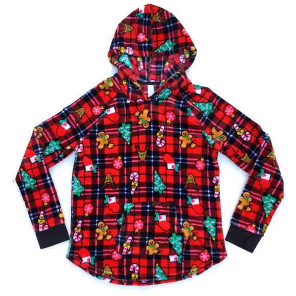 No Boundaries Tops - Target Red Plaid Christmas Fabric Print Pullover